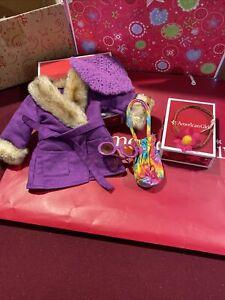 American Girl Julie Winter Coat Fur Purple Beret Accessories Set Retired Sets