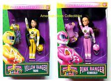 """9"""" 2-Doll Set Bandai Pink Kimberly Yellow Trini Morphin Power Rangers Girls 1994"""