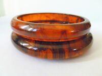 LOT 2  Pair of  Art Deco Rootbeer Marbled Bakelite Bangles