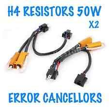 2x H4 HEADLIGHT ERROR FREE WARNING RESISTORS CANCELLERS 50W SEAT VW HONDA FIAT