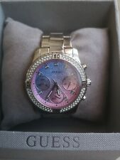 Guess G Stainless Steel Ladies Watch Silver(blue and pink inside)