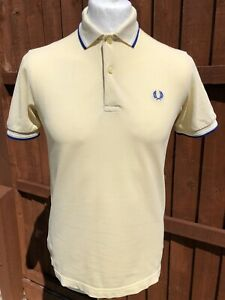 FRED PERRY COTTON PALE YELLOW TWIN TIPPED SHORT SLEEVE POLO SHIRT SIZE SMALL
