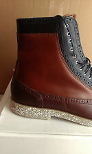 Swear London Mens Blue/Brown Leather Ankle Boots Casual Formal Shoes Size 8/42