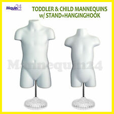 Child & Toddler Torso Dress Form Mannequin Set White Kids w/2 Stands + 2 Hangers