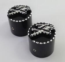 99-08-17 Hayabusa Black/Silver 3D Fork Adjuster Caps For Stock/OEM Triple Tree!!