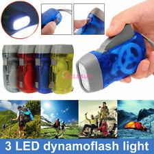 4Pcs Hand Pressing 3-LED Crank Power Dynamo Wind Up Flashlight Torch Night Lamp