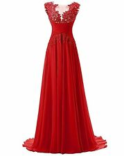 New Long Chiffon Bridesmaid Prom Dress Beads Formal Evening Gown Stock Size 6-22
