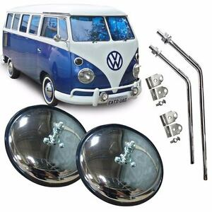 VW Side Mirror View Type 2 Bus T2 Komb Microbus Deluxe Transporter Round Chromed