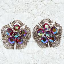 Nice Vintage JEWELCRAFT Aurora Borealis Rhinestone Clip-On Earrings  EE74*