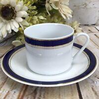 Prestige Cappuccino Cup & Saucer White Cobalt Blue Gold Trimmed Crown Porcelain