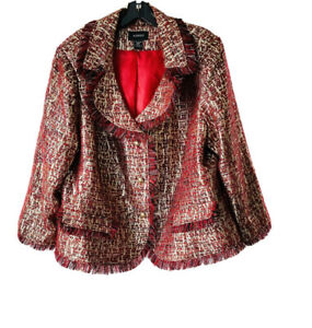 Ashro Red and Gold Metallic Fringe Blazer Size 22W
