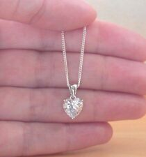 """Silver Chain/Sterling Silver Heart Necklace Uk 925 Cz Love Heart Pendant & 18"""""""