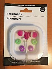 UNIVERSAL DIGITAL STEREO EARPHONES (Pink w Green & Purple tips)