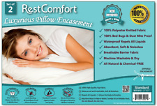 2 WHITE HOTEL HYPOALLERGENIC PILLOW CASE ZIPPERED BED BUG MITE PROTECTOR COVERS