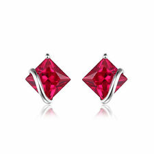 2.8ct Pigeon Blood Ruby Earrings Solid Sterling Silver Special Occassion Gift