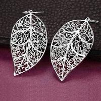 Boucles d'oreilles pendantes en argent sterling 925 avec feuille en filigrane