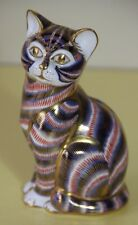 ROYAL CROWN DERBY~Imari Striped Cat- Gold stopper