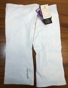 GSG Super Roubaix Fleece-Lined Cycling Knee Warmers in White - Size L/XL