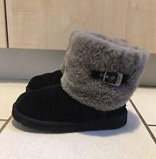 Ugg Ellee Black Sheepskin  Low Boots Size UK 3