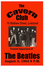 1960's Beatles * Farewell Appearance * for The Cavern Club Liverpool Poster 1963