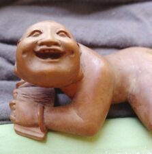 ANTIQUE JAPANESE EROTIC WOOD CARVING - NUDE MAN LYING ON STOMACH - GREAT FACE