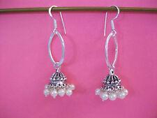 "Faux Pearl Handcrafted Jhumka Dangle Earrings .925 SSP  2.25"" Drop  #PJ1"