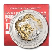 Australia Year of the Dragon 1 oz 2012  Gilded BU Crown Capsule & COA