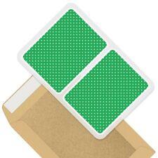 2 x Rectangle Stickers 10cm - Green White Polka Dot Pattern Print #45238