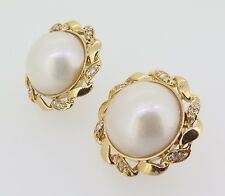 .Vintage Pair of 18k Gold Mabe Cultured Pearl & Diamond Earrings Val $6060