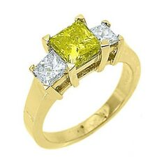 2.5 CARAT WOMENS 3-STONE FANCY YELLOW DIAMOND RING SQUARE CUT YELLOW GOLD