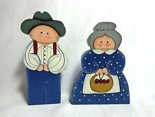 FARMER FIGURINES Set of 2 MAN WOMAN Blue Wood Handmade Farm Life Arts Crafts