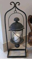 Large Black Hanging Lantern Hurricane Lamp Rustic Finish Antique Stand