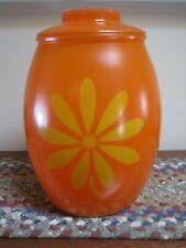Vtg 1960's Bartlett Collins BRIGHT ORANGE Glass Cookie Jar & Lid DAISY Floral