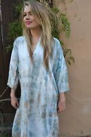 Vintage French Linen dress M L XL Tunic Peach Beige Ivory White brown blue grey