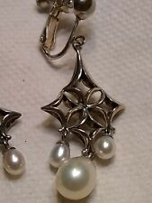 Ann King Sterling Cultured Pearl Starlette Dangle Earrings