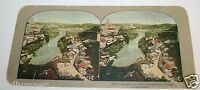 Original 1900's Antique Fribourg Great Suspension Bridge Stereoview Switzerland