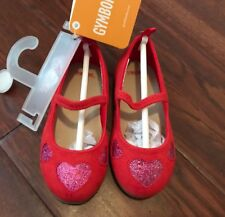 NWT Gymboree Baby Girl Toddler Red Pink Velvet Sparkle Heart Flats SZ 6