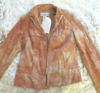 HELLINE Vintage Echt Lederjacke in stylischer Batikoptik rost -Gr.38 NEU 239,90€