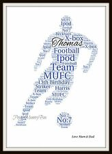 Personalised ANY COLOUR Football Player Word Art A4 Print Team Birthday Gift