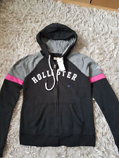 New Women's HOLLISTER Logo Graphic Fleece Hoodie Size S black,grey RRP £45