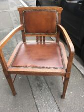Oak Arts And Crafts Style Leather Seat And Back Chair 1900