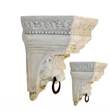 Pair Corbel Bracket Shelf Lion Face Ring Hanging or Swag Drapery Faux Stone