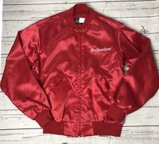 Vintage BUD King of Beers Budweiser Red Satin Varsity Jacket USA Medium W2