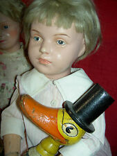 Schoenhut jointed wood doll w/blue intaglio eyes early incised mark, no repaint