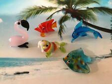 5 Miniature Glass Figurines Sea Life Flamingo, Walrus, Stingray, Dolphin.