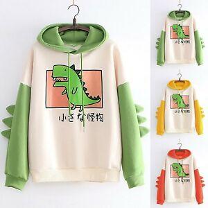 Women Casual Cartoon Print Long Sleeve Splice Dinosaur Hoodie Sweatshirt Tops