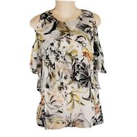 White House Black Market Peasant Top Small Floral Cold Shoulder Shell Blouse W2