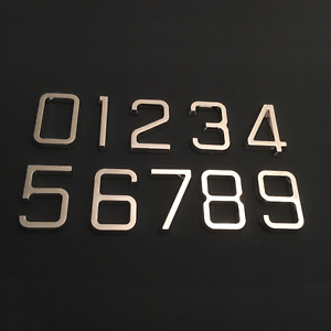 House Door Numbers Self Adhesive Chrome Retro Silver 65mm