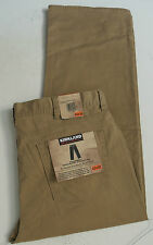 NWT Kirkland Signature Flat-Front Tan Brown Chino Trouser Pants ~ Men's 42x30