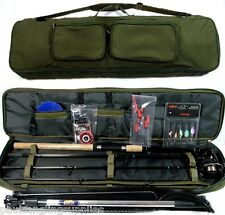 Travel Fishing Rod ,Reel  Floats  Shot ,Spinners,Net, Hooks Deluxe Bag Kit Case